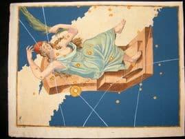 Bayer Uranometria 1661 Folio Hand Col Celestial Map. Cassiopeia 10