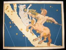 Bayer Uranometria 1661 Folio Hand Col Celestial Map. Centaurus 41