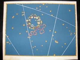 Bayer Uranometria 1661 Folio Hand Col Celestial Map. Corona Borealis 6