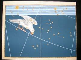 Bayer Uranometria 1661 Folio Hand Col Celestial Map. Corvus 43