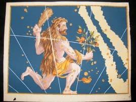 Bayer Uranometria 1661 Folio Hand Col Celestial Map. Hercules 7 Astrology