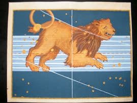 Bayer Uranometria 1661 Folio Hand Col Celestial Map. Leo 26
