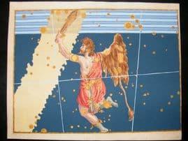 Bayer Uranometria 1661 Folio Hand Col Celestial Map. Orion 35