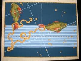 Bayer Uranometria 1661 Folio Hand Col Celestial Map. Pisces 33