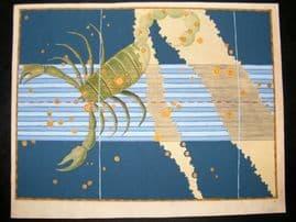 Bayer Uranometria 1661 Folio Hand Col Celestial Map. Scorpio 29 Astrology