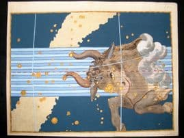 Bayer Uranometria 1661 Folio Hand Col Celestial Map. Taurus 23 Astrology