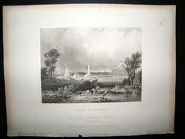 Belgium 1834 Antique Print. Plains of Waterloo