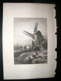 Belgium 1838 Antique Print. Windmill near the Hague