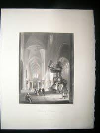 Belgium 1847 Antique Print. Cathedral of St. Bavon, Ghent