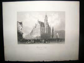 Belgium 1847 Antique Print. Hotel de Ville, Audenard. Oudenaarde