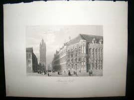 Belgium 1847 Antique Print. Hotel de Ville, Ghent