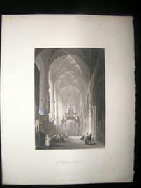 Belgium 1847 Antique Print. St. Gudula, Brussels