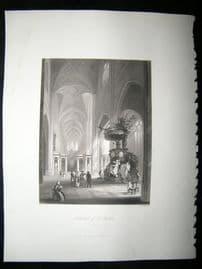 Belgium 1847 Steel Engraving, St. Bavon Cathedral, Ghent