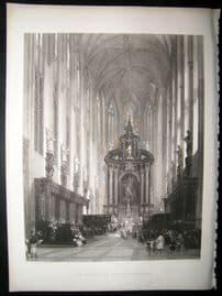 Belguim, The Church Of St.Pauls, Antwerp, David Roberts 1863 Steel Engraving