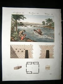Bertuch C1815 Hand Col Print. South America, Incas & Rapids