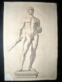 Bloemaert after Vbaldinus 1646 Nude Statue of Hercules. Gay Interest. Ferrrari