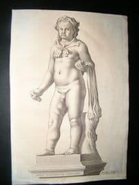 Bloemaert & Vbaldinus 1646 Child Statue Print. Heros Aventinus in Capitolio. Ferrari