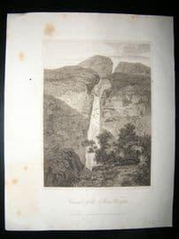 Brazil C1810 Antique Print. Cascade of The River Vinagre