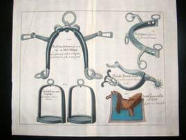Cavendish Equestrian 1700 Antique Hand Colored Horse Print. Saddles etc 12