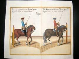 Cavendish Equestrian Dressage 1700 Antique Hand Colored Horse Print 32