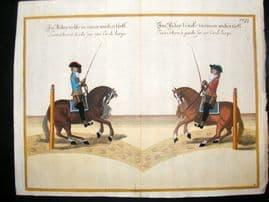 Cavendish Equestrian Dressage 1700 Antique Hand Colored Horse Print 38
