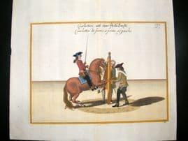 Cavendish Equestrian Dressage 1700 Antique Hand Colored Horse Print 63