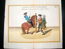 Cavendish Equestrian Dressage 1700 Antique Hand Colored Horse Print 68