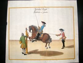 Cavendish Equestrian Dressage 1700 Antique Hand Colored Horse Print 76
