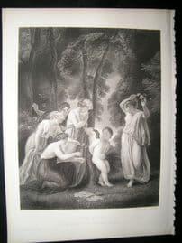 Chiildren, Cupid Bound 1863 Steel Engraving