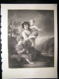 Children 1850 Steel Engraving. Cottage Children