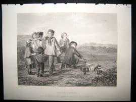 Children 1866 Steel Engraving. The Bird Catchers