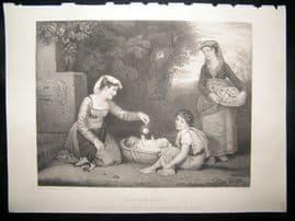 Children 1867 Steel Engraving. An Italian Family