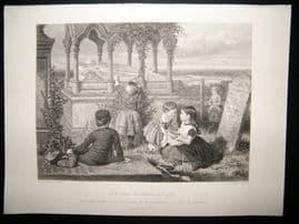 Children 1872 Antique Print. The Tomb of Grace Darling, Art Journal