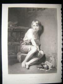 Children 1873 Steel Engraving, Louis XVII