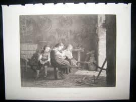 Children 1875 Steel Engraving. The Cooper's Family