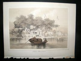 China Perry Expedition 1856 Antique Print. Chinese Temple, Macao