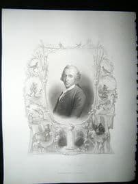 Christian Furchtegott Gallery 1847 Steel Engraving, Antique Print