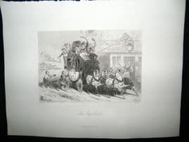 Coaching 1847 Steel Engraving, The Stage Coach