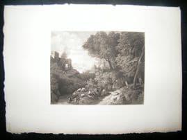 Cornelis Huysmans 1885 Photogravure. Landscape with Cattle