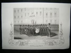 Crimea 1857 Antique Print. HM Taking Leave of Fusilier Guards