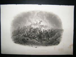 Crimea 1857 Antique Print. Night Attack in the Trenches, Sebastopol
