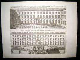Dahlberg Sweden C1700 Folio Architectural Print. Stockholm Palace