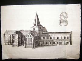 Daniel King 1656 Antique Print. Rochester Cathedral, Kent Etching