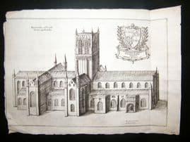 Daniel King 1656 Antique Print. Worcester Cathedral, UK. Etching