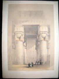 David Roberts Egypt 1848 LG Folio. Portico, Temple of Dendera Lithograph