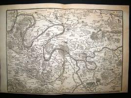 De Fer 1724 Folio Map Plan. Environs de Paris City Plan, France
