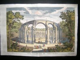 De Fer 1724 Hand Col Architecture Print. Colonade of Versailles, France