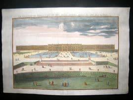 De Fer 1724 Hand Col Architecture Print. Versailles incl Garden & Fountains, France