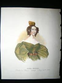 Dona Maria, Queen of Portugal 1833 Antique Hand Col Portrait Print