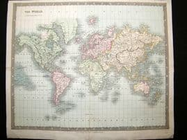Dower & Teesdale 1831 Antique Hand Col Map. World of Mercators Projection